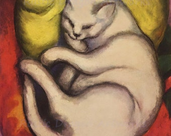 "Franz Marc ""Tomcat on a Yellow Cushion"" 1912  Reproduction Digital Print Cat Sleeping Feline"