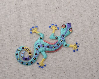 Gecko - Multicolor Lizard - Iron on Applique - Embroidered Patch - 692676
