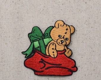 Christmas - Teddy Bear - Gift Bag - Iron on Applique - Embroidered Patch - 795965-B