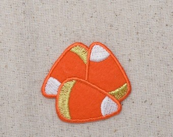 Candy Corn - Halloween - Three Pieces - Orange Felt - Iron on Applique - Embroidered Patch - 659321-A