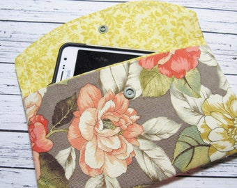 Floral iPhone Clutch Wallet, Smartphone Wallet Clutch, Women's Fabric Clutch Wallet, Cell Phone Clutch, iPhone Case, Cell Phone Holder