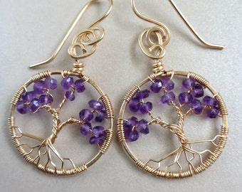 Amethyst Tree of Life Earring February Birthstone Gold Tree-of-Life Earring Aquarius Pisces 4th Anniversary 6th Anniversary Healing Crystal