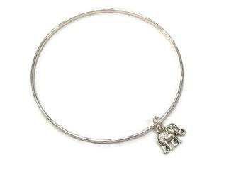 Elephant Charm Bracelet - Elephant Charm Bangle - Silver Elephant Bracelet - Silver Elephant Bangle - Elephant Jewelry - Stacking Bangles