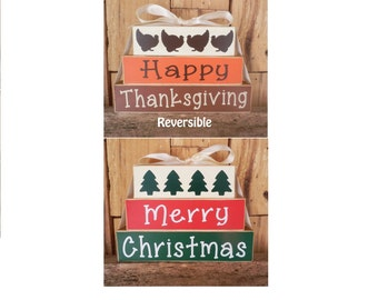 Happy Thanksgiving / Merry Christmas, Reversible Blocks, Thanksgiving, Christmas, Small Blocks, Wood Sign, Wood Blocks, Holiday Decoration