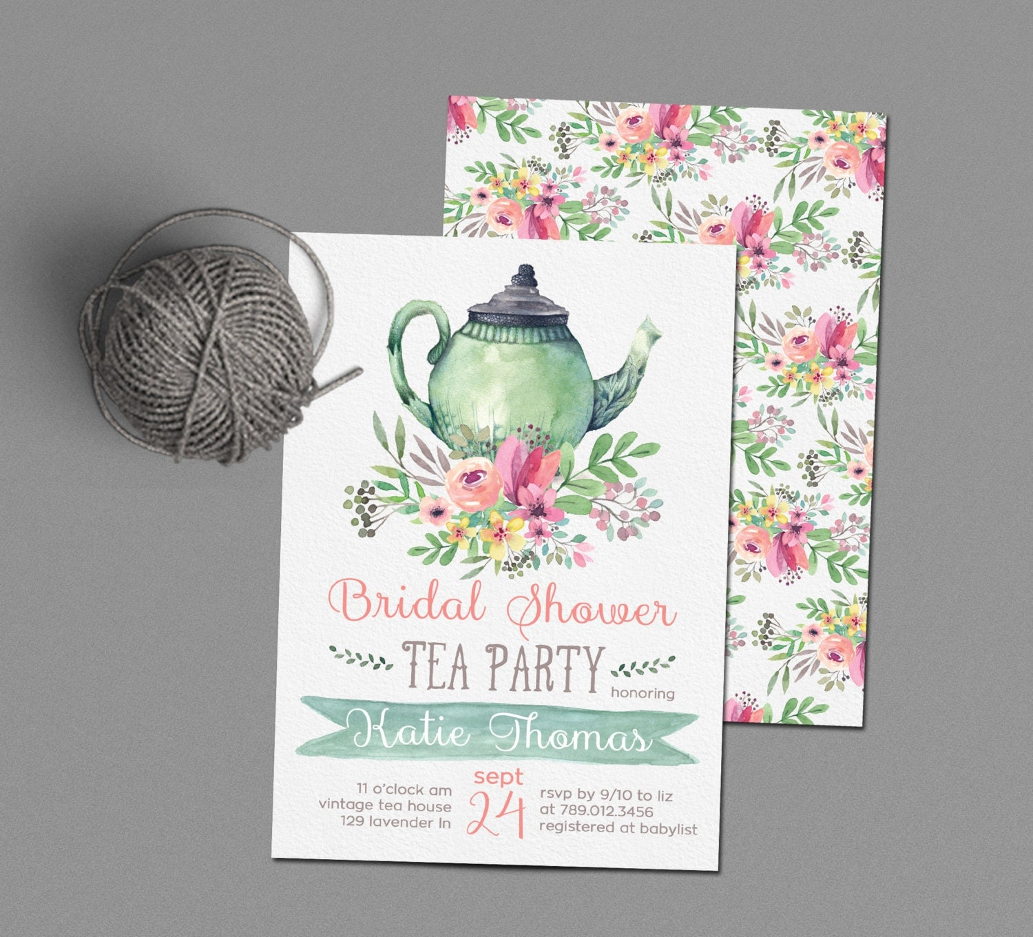 Tea party bridal shower invitations wedding shower invite - Bridal shower invitations ...