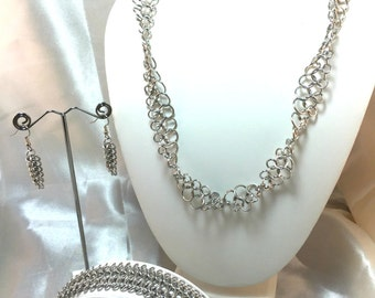 Silver Bracelet, Earrings & Necklace Chainmaille Jewelry Set - Bright Aluminum - European 4-in-1 - Chainmail Jewelry