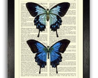 Wall Art Print, Pair of Blue Butterflies Bedroom Decor, Blue Home Decor, Butterfly Print, Dictionary Book Art, Bathroom Decor