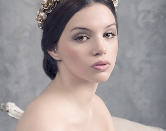 Wild roses headpiece.  Floral wedding crown. Wedding headpiece. Bridal crown. Bridal headpiece. Style 535