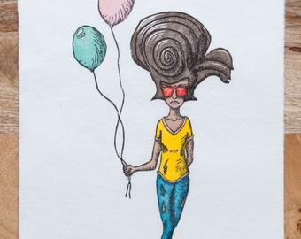 Limited Edition, Kids In Masks, Woodcut, Big Hair Girl, Printmaking, Balloons, Woodblock Print, Handmade