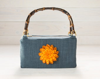 Blue Purse with Gold Dahlia Felt Flower and Bamboo Handles