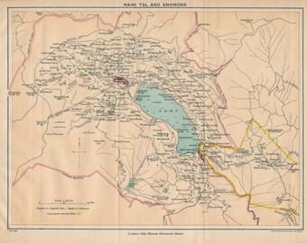 1924 Nainital India Antique Map