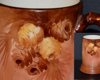 Antique Limoges Jean Pouyat Artist Signed French Porcelain Hand Painted Stein Tankard Mug Pine Cones Decor