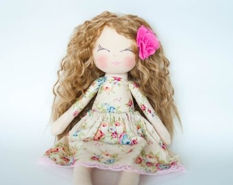 Handmade doll, curly hair , rag doll, cloth doll, dark blonde hair, gift for little girl, birthday gift, dolls