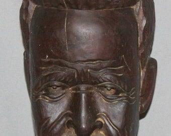 Vintage Hand Carved Wood Man Bust Sculpture