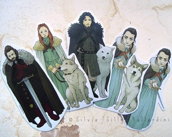 Game of Thrones bookmarks! House Stark: Jon Snow, Arya Stark, Eddard Ned Stark, Sansa Stark. [ a Song of Ice and Fire ]