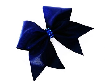 Navy blue cheer bow, cheer bow, cheerleading bow, cheerleader bow, softball bow, blue cheer bow, dance bow, Cheer bows, large cheer bow