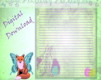 Easter Bunny Page, Easter Rabbit Page, Easter Page, Ostara Page, Easter Stationery, Ostara Stationery, Ostara Hare, Easter Hare, Easter Eggs