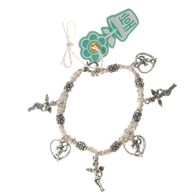 Classic Love Rocks White Hemp Metal Beads Hoti Charm Bracelet Lobster Clasp  Ladies Beaded Rock Boho Chic Cupid Angels Hearts Hand Crafted