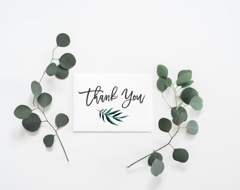 PRINTABLE Art Thank You Card Wedding Thank You Card Palm Leaf Thank You Card Watercolor Thank You Card Floral Thank You Card Birthday