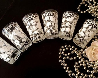 Croatia embroidered lace style handpainted shot glasses wedding decoration gift small beverage drinking glasses set of 6  from croatia