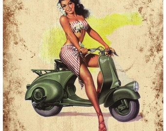 Italian Vespa Poster Canvas Art Print Choice of sizes available.