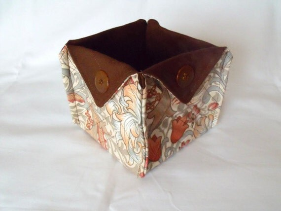 folded box, fabric tub, storage tub, origami bucket, cotton basket, william morris fabric