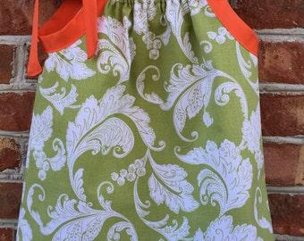 Infant Girl Spring/ Summer Green/White Pillowcase Dress -18month