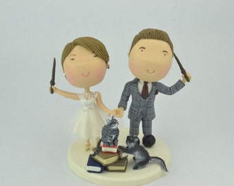 Magical couple with pet cats. Harry Potter Theme. Wedding cake topper. Wedding figurine.  Handmade. Fully customizable. Unique keepsake