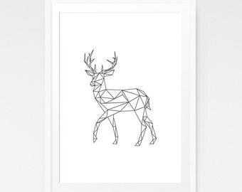 Modern deer print, Nursery decor, Deer print, Geometric deer, Geometric animal, Geometric nursery, Geometric wall art, Nordic art