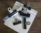 """Lot of 5 Vintage Bulldog Metal Clips - All Vintage - Industrial style Paperclips - Office Clips - Small to Large 5.5"""""""