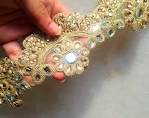 Gold shining trim, Bollywood Trim, net Fabric,Quilt Trims,Indian Trim, Saree border,table runner