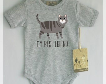 American Shorthair cat baby clothes. Cat print baby clothes. My best friend cat clothes. Custom text.