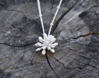 Fairy Duster Flower Necklace, Sterling silver, Cast