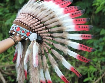 ON SALE Feather headdress Indian inspired, warbonnet native american style, short length