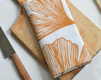 Yellow Ginkgo Leaf Tea Towel - Flour Sack Towel - Cotton Kitchen Towel -Tea Towel Flour Sack - Dish Towels - Ginkgo Biloba - Tea Towels