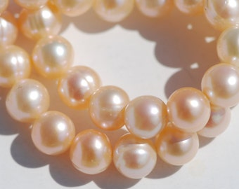 Peach Cultured Pearl Bead Strand, Peach Color, 8 mm, Spherical Beads, 16 inches, Grade AA, PL0007