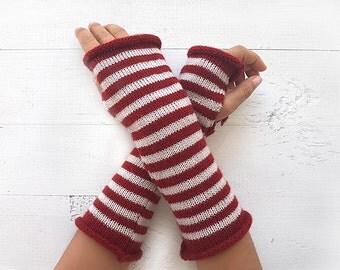 CHRISTMAS GIFT, EXPRESS Shipping, Striped Gloves, Burgundy Cream, Long Gloves, Xmas, Gift For Her, Fingerless Gloves, Arm Warmers, Stripes