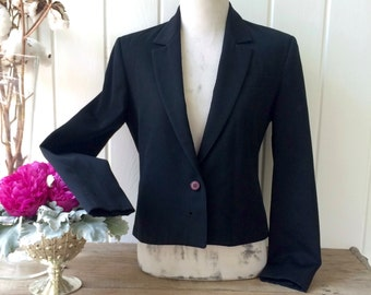 Vintage 80s Prophecy Black Wool Short Cropped Double Breasted Blazer / Fully Lined / Made in the USA / Women's Medium to Large