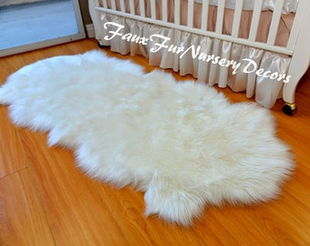 natural realistic shape double sheepskin nursery cute shaggy faux fur rug warm white in pictured assorted
