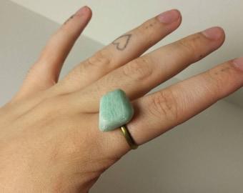 Amazonite Ring, Gemstone Ring, Adjustable Ring, Green Gemstone, Gemstone Jewelry, Green Blue Ring, Amazonite Jewelry, Amazonite - 00144
