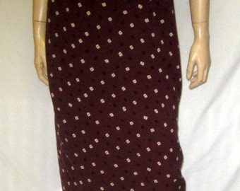 1980's DKNY Brown Silk Printed  Straight Skirt