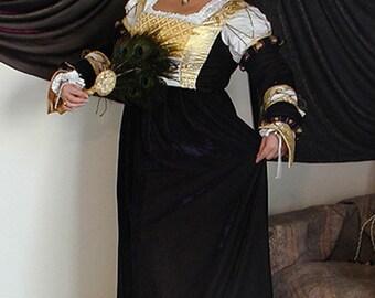 Lucas Cranach the Elder painting inspired velvet Saxon dress, Renaissance medieval velvet dress, LARP costume, European historical dress