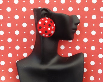 Red gray & white polka dot peebles fabric cover button earrings