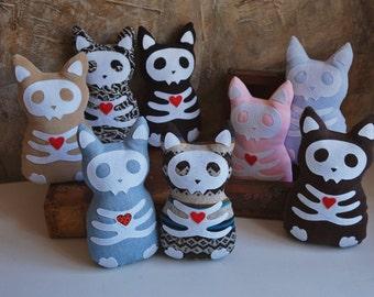 Cutest skull cat plush. Gothic, creepy kitten soft toy. Ecofriendly, babysafe. Halloween