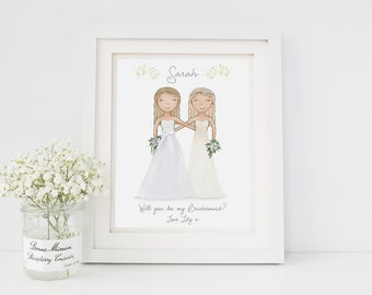 Will you be my Bridesmaid - Thank you Gift - Bridesmaid Proposal - Maid of Honor Gift - Personalized Bridesmaid Gift - Wedding Art Print