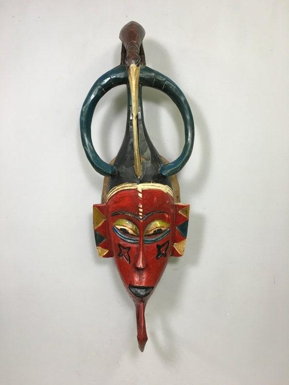 Mask  African Red Bird Baule Mask Ivory Coast Handmade Bird Crest Female Beauty Red Bird Mask Unique Statement