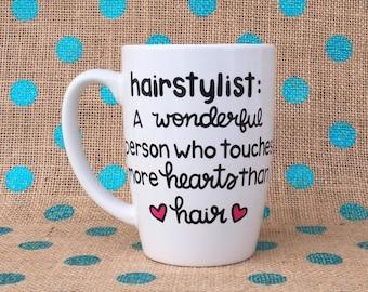 Hairstylist Coffee Mug - Hand Painted Coffee Mug - Hairstylist Gift - Beautician Coffee Mug - Personalized Mug - Mug - Stylist - Custom Gift