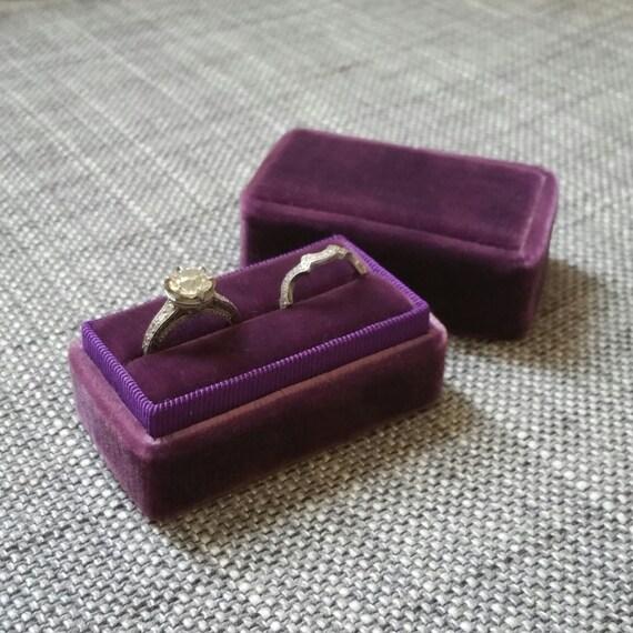 Plum Purple Handmade Vintage Inspired Velvet Double Ring