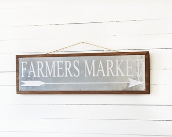 Farmhouse Decor- Farmers Market Sign- Farmhouse Style- Rustic Home Decor- Galvanized Decor- Farmhouse Sign- Rustic Farmhouse Wall Decor