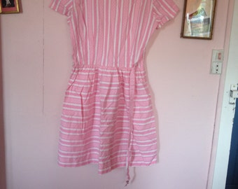 Beautiful pink and white vintage dress printed 50's fifties belted small S Brigitte Bardot BB